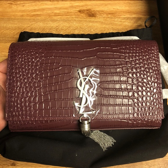 MEDIUM KATE TASSEL CHAIN BAG IN DARK RED CROCODILE 2bf1fcfcb1c8e